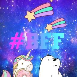 freetoedit bff shootingstars unicorn webarebears
