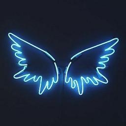 freetoedit neon blue aesthetic wings
