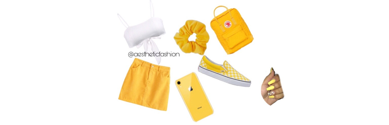 🌼☀️💛           #yellow#white#red#background#plain#vans#checkerd#skirt#acrylic#nails#iphone#xr#iphonexr#in#yellow#crop#top#scrunchie#aesthetic#fashion