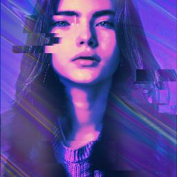 freetoedit glitch girl purple holographic