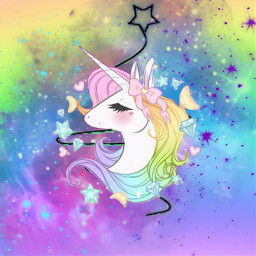 freetoedit unicorn stars multicolor