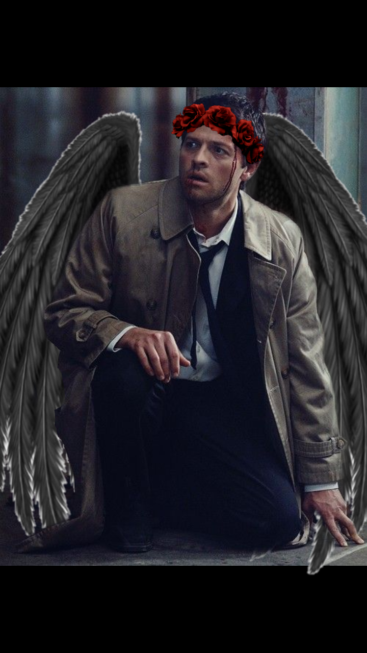 #freetoedit  #supernatural #castiel #crownflower #asas #angel #anjo