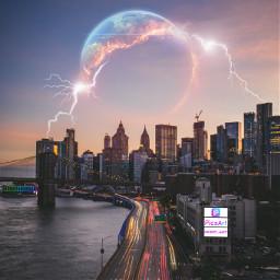 freetoedit lightnings sunset skyline city