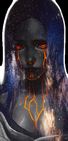 sadness girl galaxy freetoedit