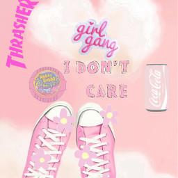 converse pink idontcare girlgang trasher freetoedit
