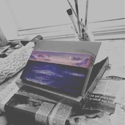 moon sunset ocean blackandwhite purple