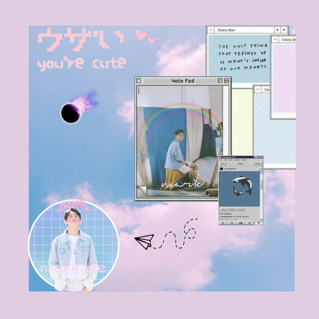 """You're cute, Mark""~DL #marklee #nct #kawaii #createdbyme #markhyuck  #freetoedit"