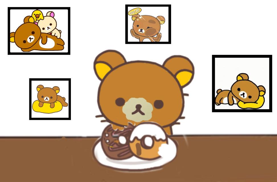 #freetoedit #la Couma #trop mignon #ours #famille #cade #oups j'ai tout mangé #doughnuts #chocolat blanc aitour de la bouche #mur blanc #trop Kawai