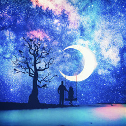silhouette moonlight galaxy swinging dreaming freetoedit
