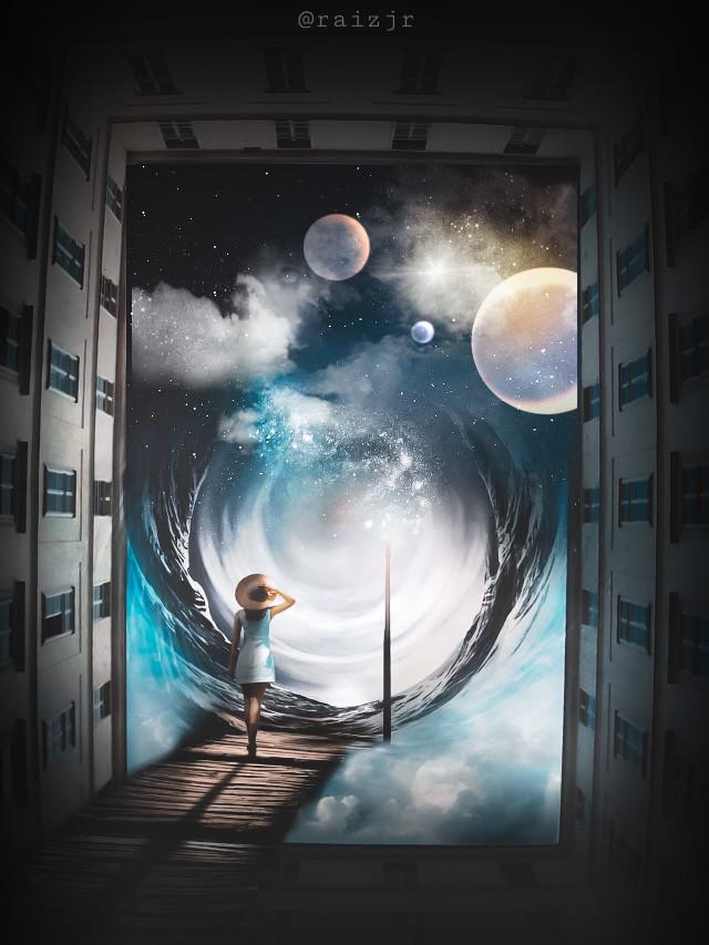 ESCAPE FROM MADNESS. @picsart @freetoedit   #picsart #madewithpicsart #editing #art #colors #photograpy #instagood #space #galaxy #planets #portal #girl
