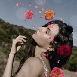 freetoedit women flowers petals imagination