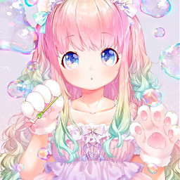 freetoedit animegirl girlanime girl colorfullhair