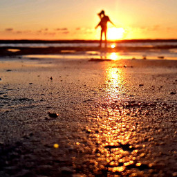 freetoedit beach sunset silhouette girl pcfaceless