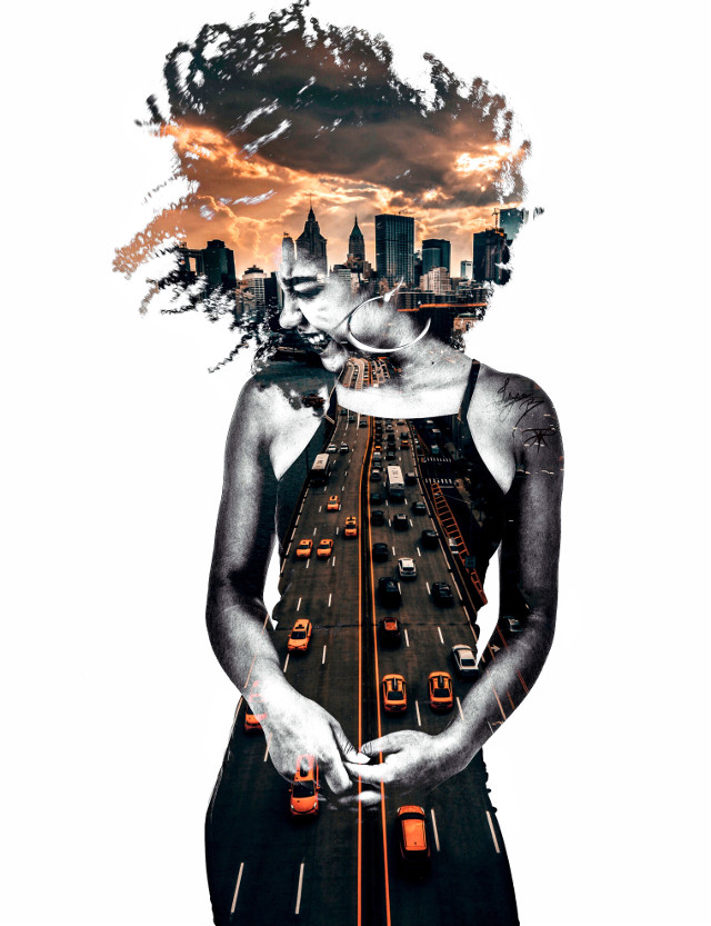 Photos from unsplash. Edited by me. #doubleexposure #curls #curly #curlyhair #happy #smile #laugh #model #city #urban #citylights #clouds #sunset #skyline #highway #taxi #blackgirlmagic #unsplash #vipshoutout #picsart #freetoedit