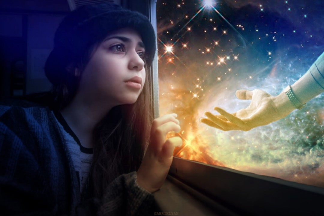 Many thanks for the beautiful original fte photos? #girl #window #train #outerspace #hand #sadness #surreal #lightmask #freetoedit