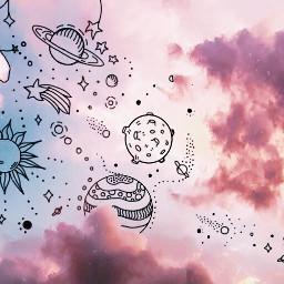 doodle doodles cloud drawing planets freetoedit