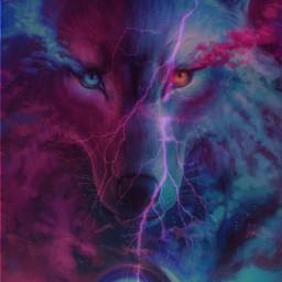 freetoedit wolf remixed lightening purples