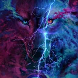 freetoedit remixed wolf lightening