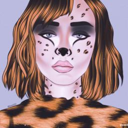ircoutlineremix outlineremix freetoedit catgirl cheetahgirl