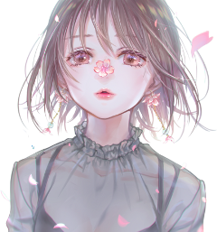 pink anime girl cute cherryblossoms freetoedit