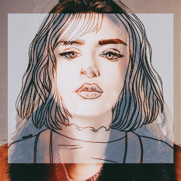 artwork girl lady outline doublexposure freetoedit