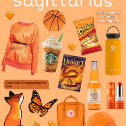 niche nichememes orange sagittarius zodiac freetoedit