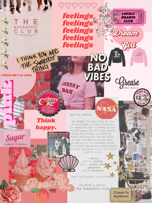 #freetoedit #aesthetic #aestheticcollage #pink #breakfastclub #grease #vintage #space #prettyinpink