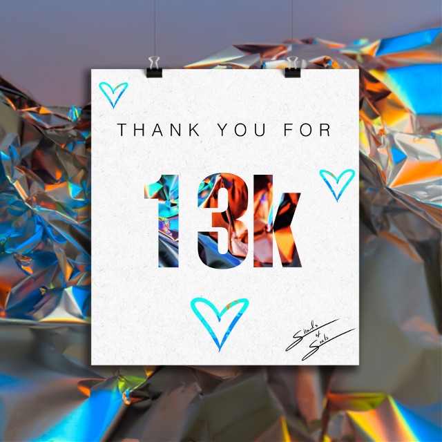 Thank you everyone! When I started here, I never imagined how involved I would become in this @PicsArt community 💜 #followers #13 #13k #thankyou #community #update #people #thanks #loveyou #freetoedit