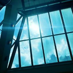 blue window light windows ceiling