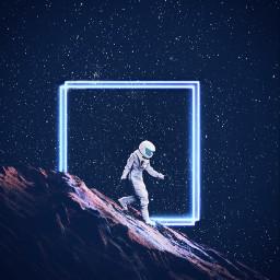astronaut space neon neonlight rock freetoedit