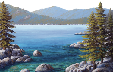 watercolor lake mountains trees river scenic freetoedit