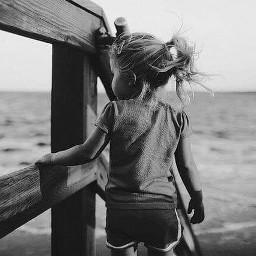 blackandwhite girl babygirl sea beach freetoedit