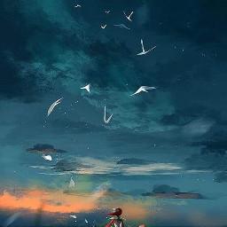 girly feathers bluesky lonely sunset freetoedit