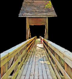 wooden bridge lumber structure roof freetoedit