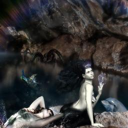 myedit mermaids underthesea cave rainbowlight freetoedit