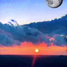 freetoedit moon fullmoon sunset stars
