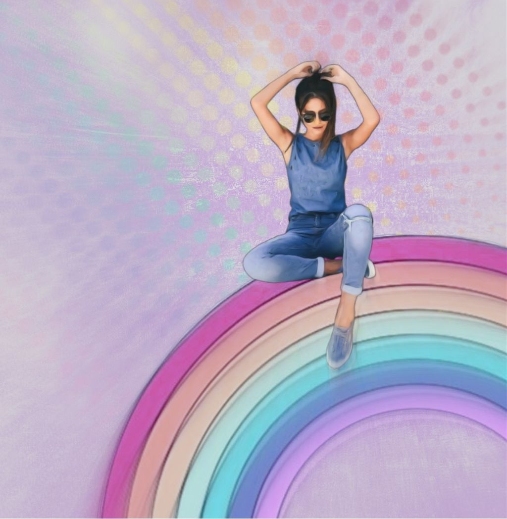 #freetoedit #blissfulpoms #rainbow #woman #focalzoom #dots #texture #purple #watercolor