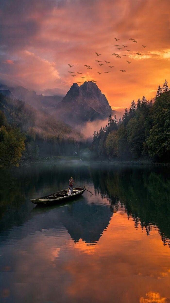 #freetoedit #landscape #sol #pordosol #sunset  #forest  #boat #ocean #person #clouds #mountain