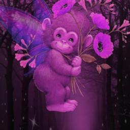 freetoedit remixed monkey flowers deer