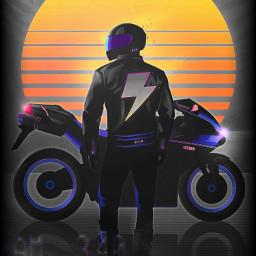 motorcycle retro sunset thistookforever
