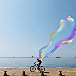 bike bikeride bubble holographic freetoedit