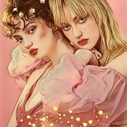 freetoedit blush girlfriends flowersinherhair shimmer
