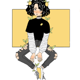 girl draw lemon yellow