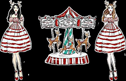 watercolor Christmas carousel reindeer woman lasy bloom...