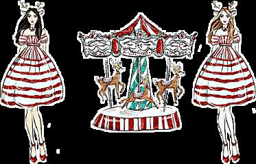 watercolor christmas carousel reindeer woman freetoedit