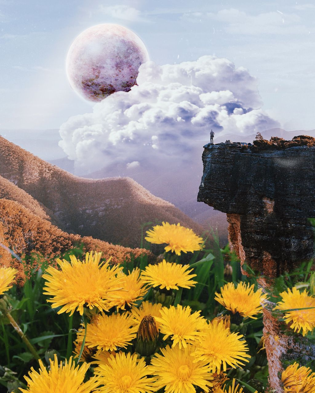 #freetoedit #fantasy #art #mountains #planet #flowers #sky #clouds