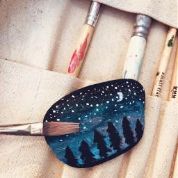 starrysky painting rockpainting paintbrush stars freetoedit