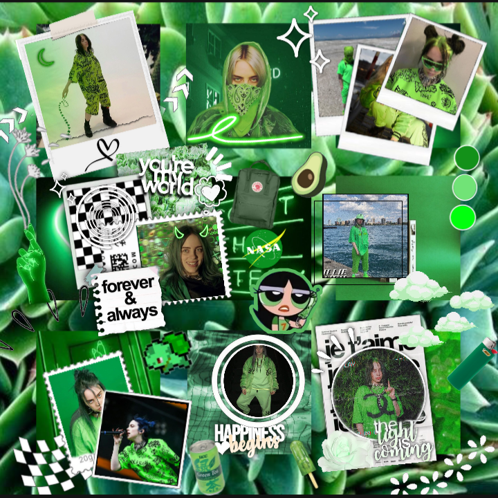 Billie Eilish Aesthetic Wallpaper Green