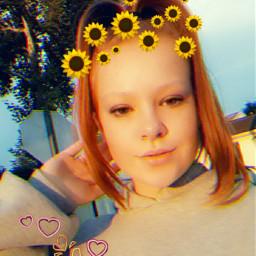 freetoedit sunset sunflowercrown idk srcsunflowerselfie
