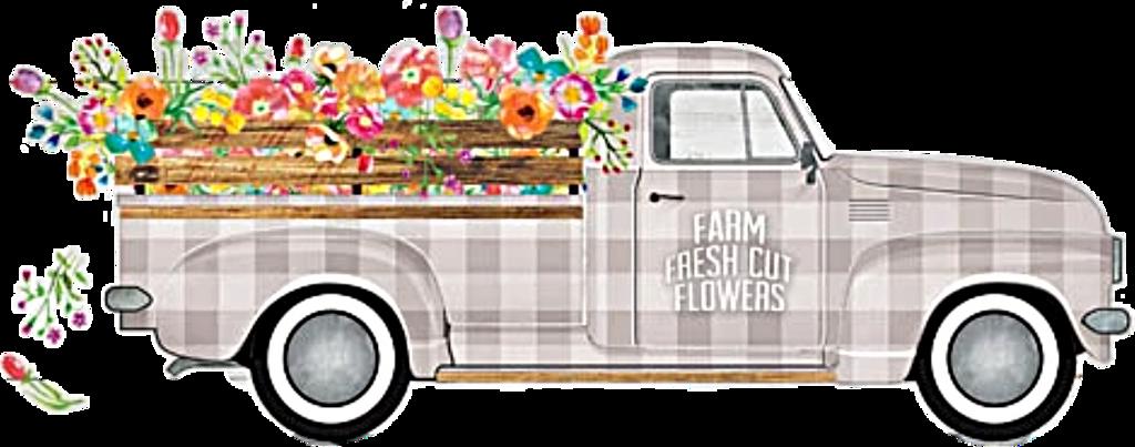 #truck #flowers #antique #vintage #classic #retro #floral #decorative #clipart #ford #Chevy #christmastruck #plaid #png